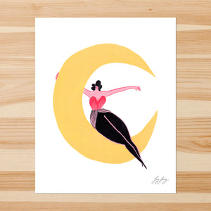 Lady and Moon 8-10in Giclee Print