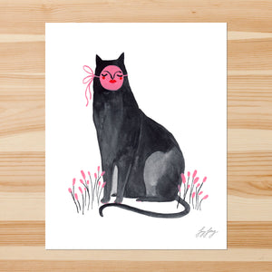 Sitting Cat with Mask 8-10in Giclee Print