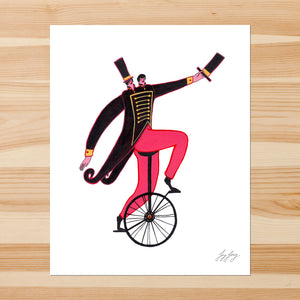 Two Heads, One Wheel 8-10in Giclee Print