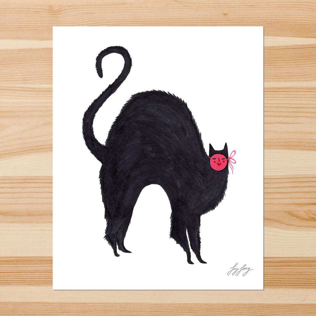 Black Cat with Mask 8-10in Giclee Print