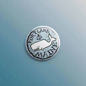 Portland, Maine Whale 1inch Pin