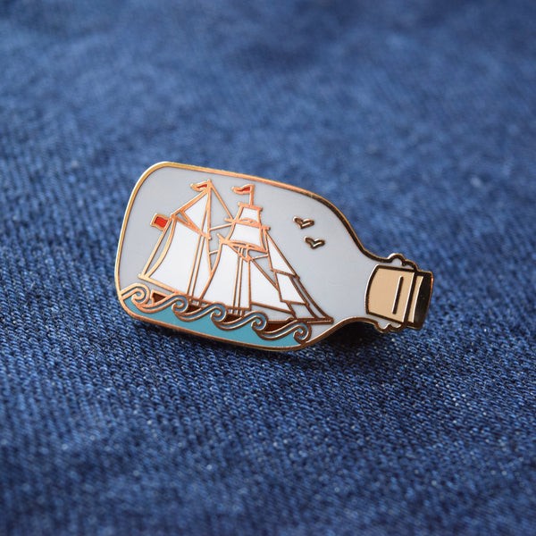Ship in a Bottle Enamel Pin