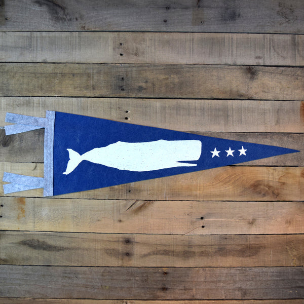 White Whale Felt Pennant on Blue Felt
