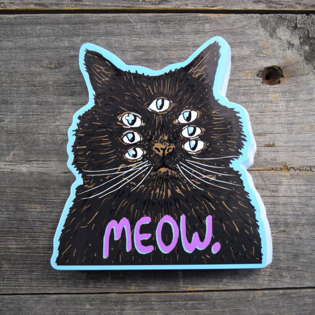 Meow Cat. Vinyl Sticker