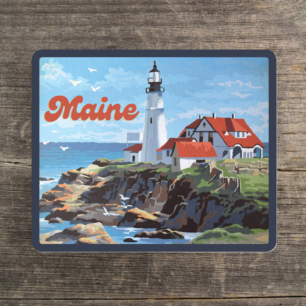 Maine Lighthouse Vinyl Sticker