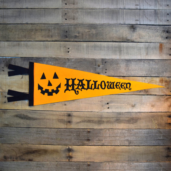 SALE Halloween Pennant on Orange Felt