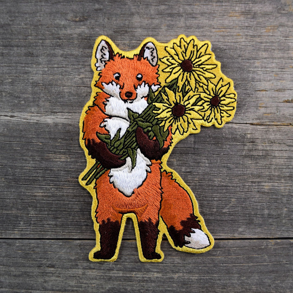 Fox & Flowers Embroidered Patch