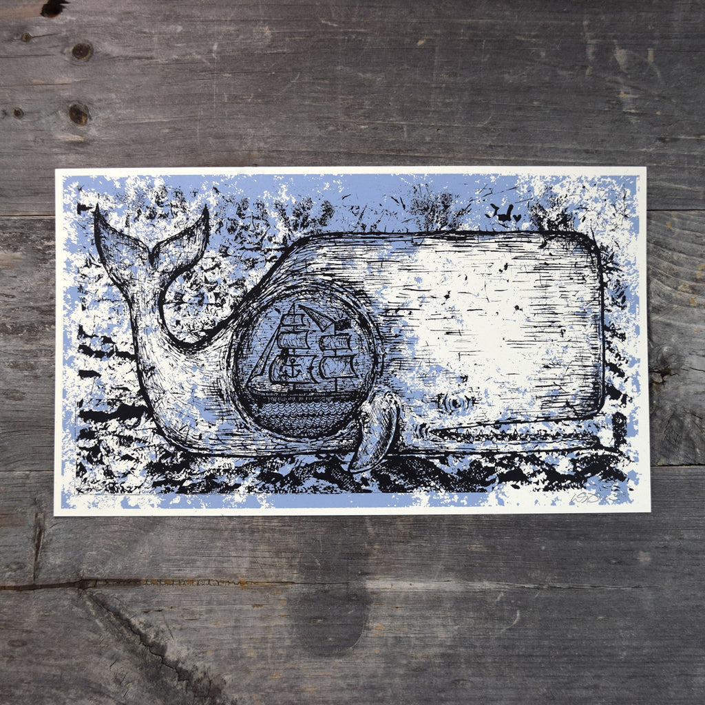 Ship in A Whale Screen Print