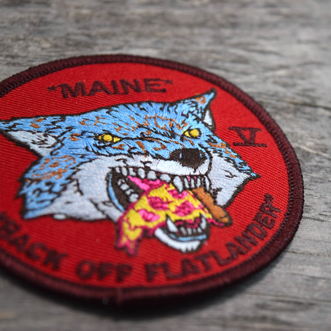 Maine Pizza Wolf Embroidered Patch RED