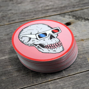 Skull in 3D Glasses Vinyl Sticker