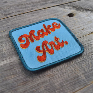 Make Art. Groovy Text Embroidered Patch