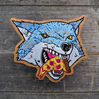 SALE Pizza Wolf die cut Embroidered Patch
