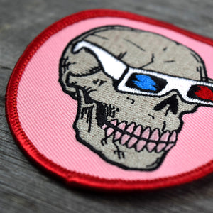Skull with 3D Glasses Embroidered Patch