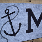 MAINE Anchor Pennant on Gray Wool