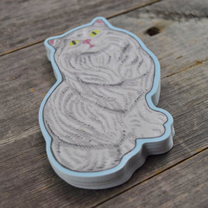White Ceramic Cat Vinyl Sticker