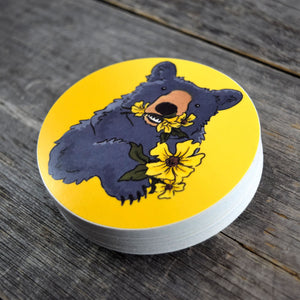 Bear & Flowers Vinyl Sticker