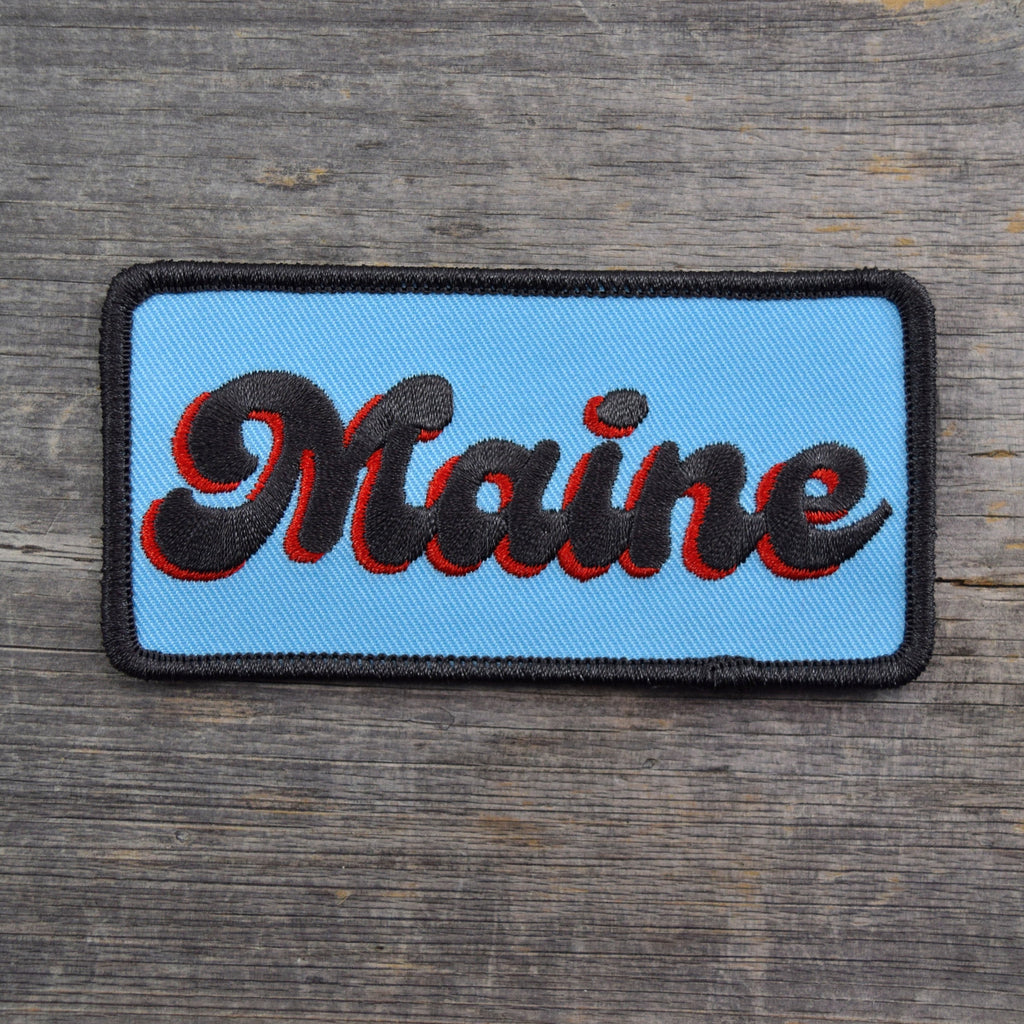 Maine Groovy Text Embroidered Patch