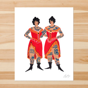 Tattooed Sisters 8-10in Giclee Print