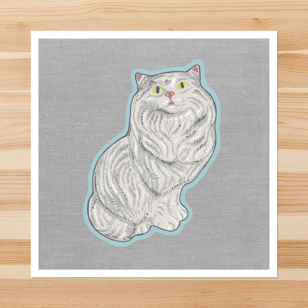 White Ceramic Cat 8-8in Giclee Print