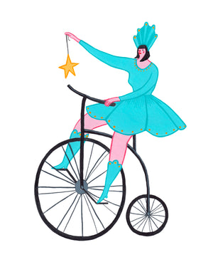 Bike Lady with Star 8-10in Giclee Print