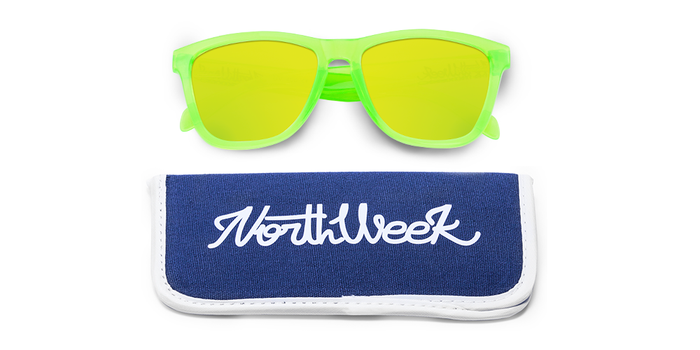 Lentes de sol polarizados Bright Green-Gold con funda