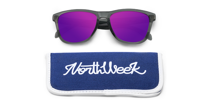 Lentes de sol polarizados Bright Grey - Purple Polarized con funda