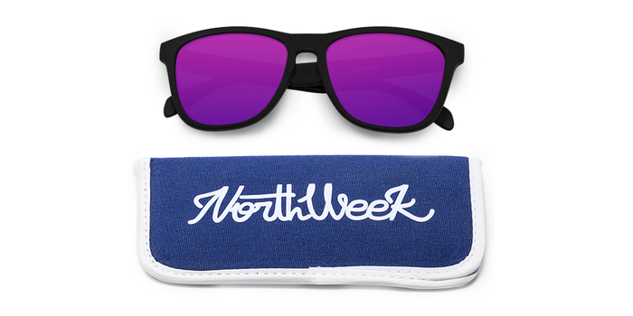 Lentes de sol polarizados Matte Black- Purple Polarized con funda