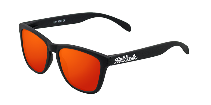 Lentes de sol polarizados Matte Black-Red Polarized