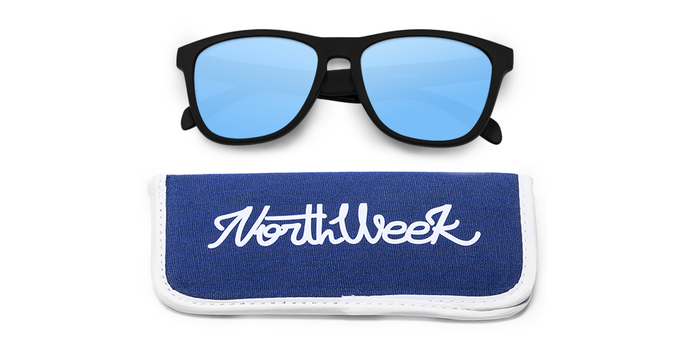Lentes de sol polarizados Matte Black-Ice Blue Polarized con funda