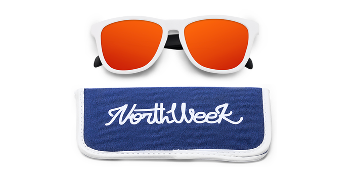 Lentes de sol polarizados Matte White & Matte Black - Red Polarized con funda