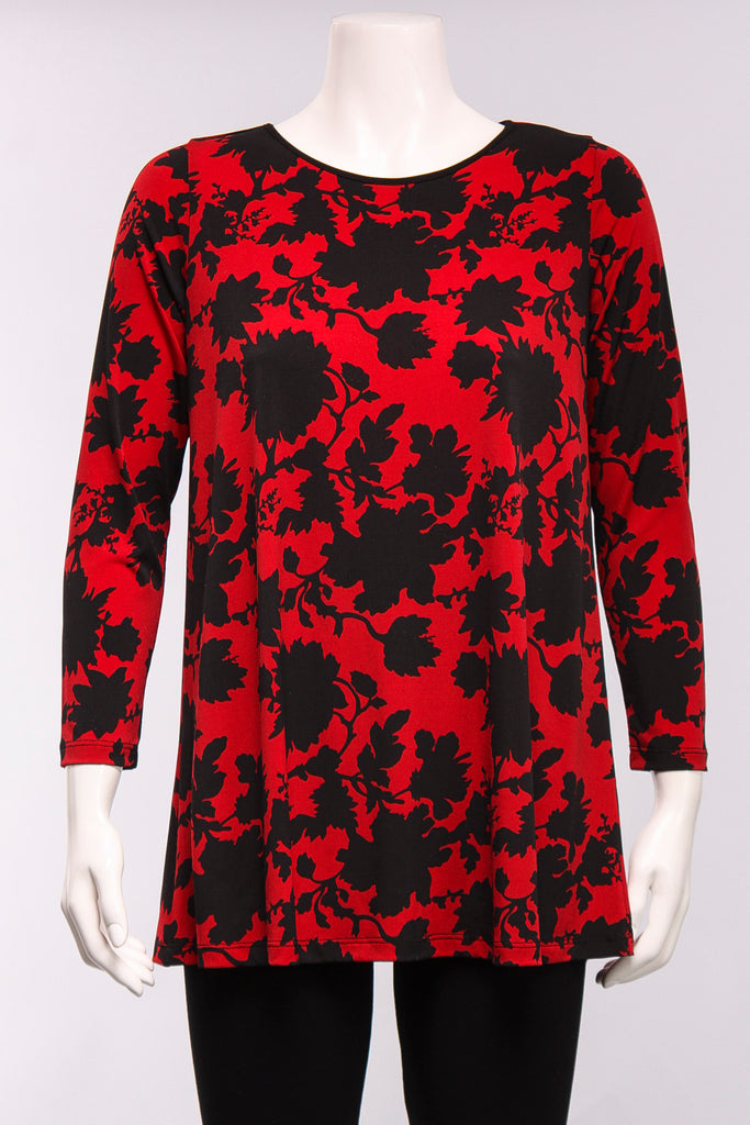 Long Sleeve Tunic in Red Floral Diane Print