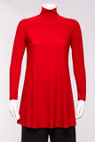 Long Mock Neck Tunic in Lipstick Red