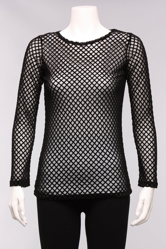 Diamond Mesh Top in Black
