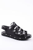 Lace Up Sandal in Black