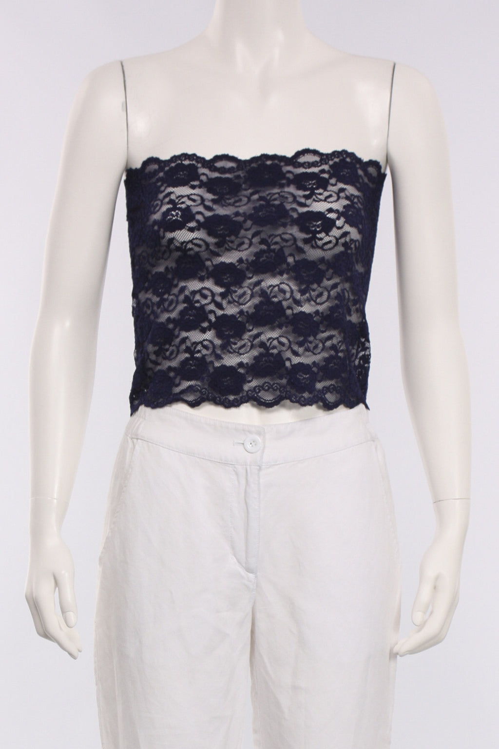 Short Lace Top in Navy