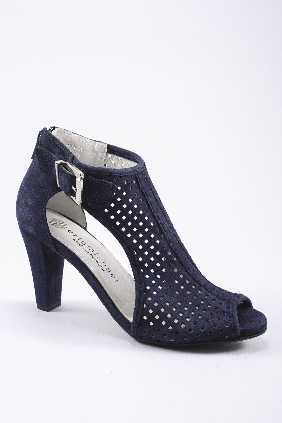 Crystal Open Toe Heel in Navy
