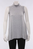 Cowl Tank in Gray/Stripe