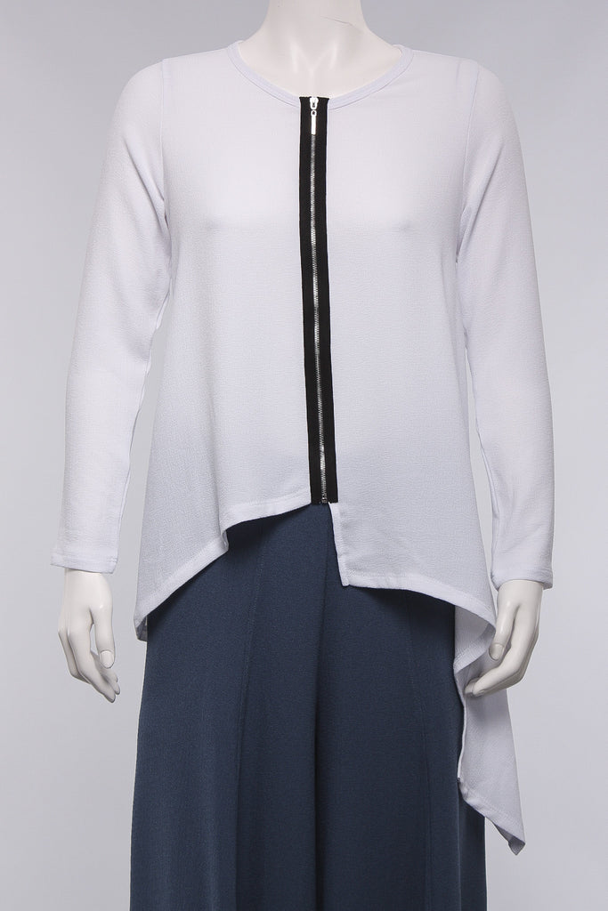 Jacket With Zip in White