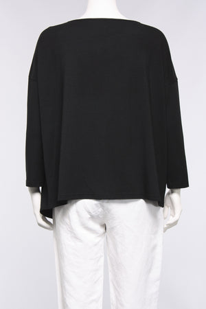 Asymmetrical Runched Top with Zipper in Black