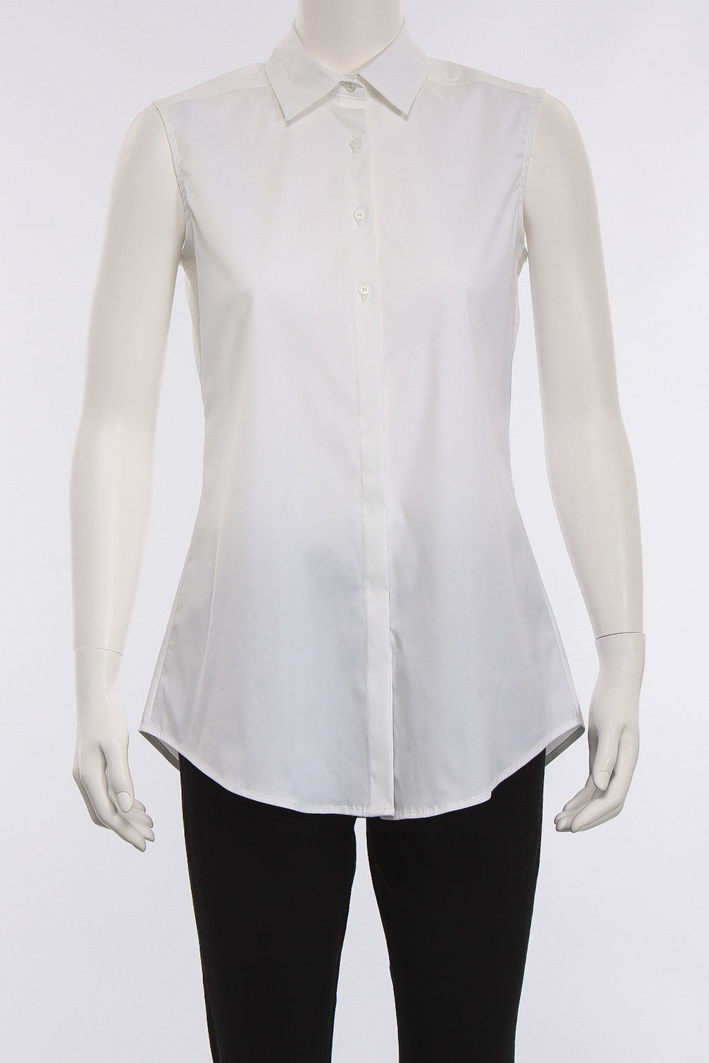Sleeveless Button Down Tank in White