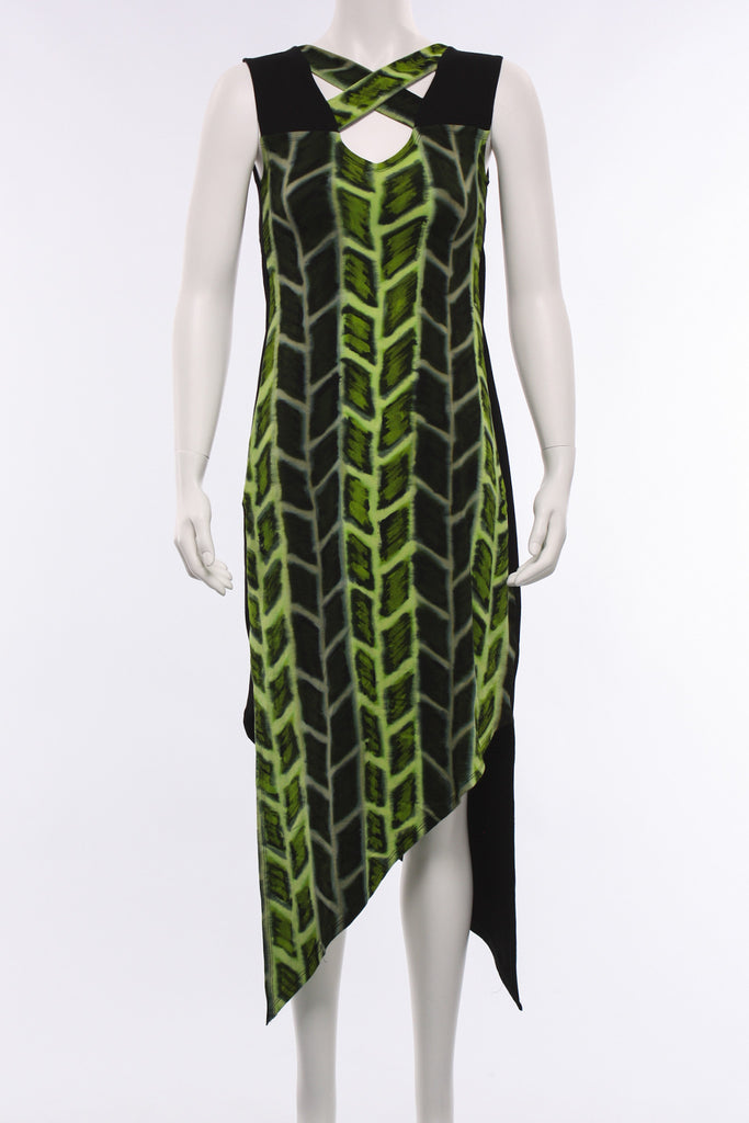Criss Cross Dress in Green Print