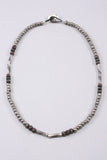 Long Beaded Necklace in Silver/Multi