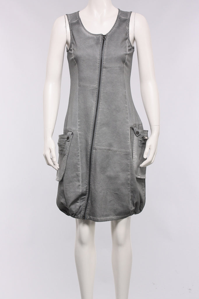 Zip Front Dress in Grey