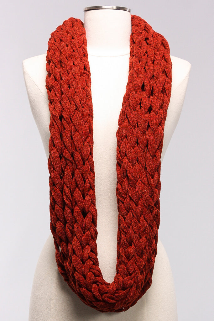 Knitted Chunky Scarf in Brick