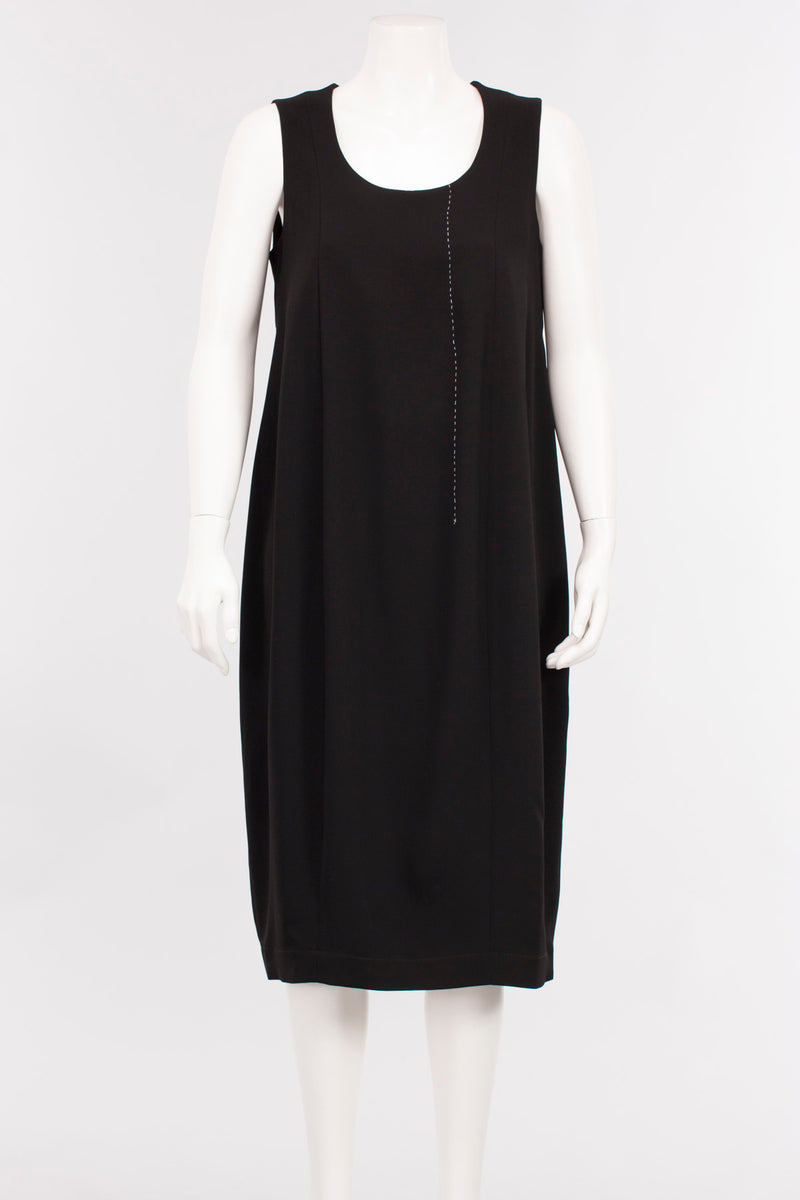 Stitch Dress in Black Microfiber