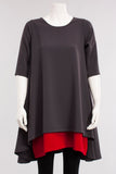 2 Color A Line Top in Grey/Red