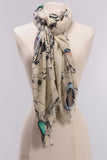 Birds and Butterflies Printed Scarf