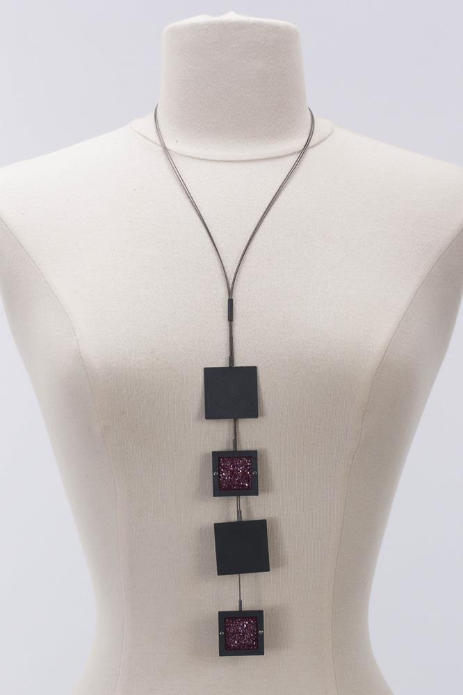 Square Necklace W/Crystals