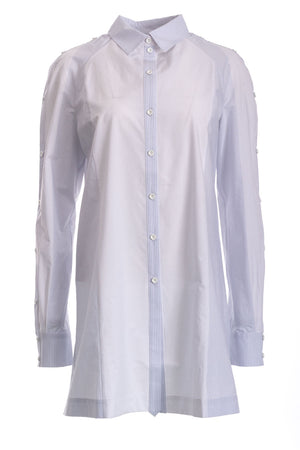 Long Poplin Shirt With Button Sleeve