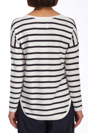 V-Neck Striped Pullover Sweater